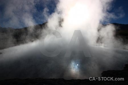 Atacama desert sky andes geyser pool.