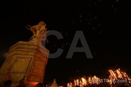 Bangkok person lantern statue southeast asia.