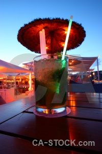 Bar straw mojito glass sky.