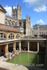 Bath roman baths building person uk.