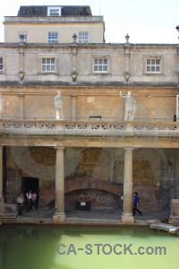 Bath roman baths europe building person.