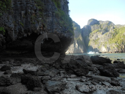 Beach asia limestone island water.