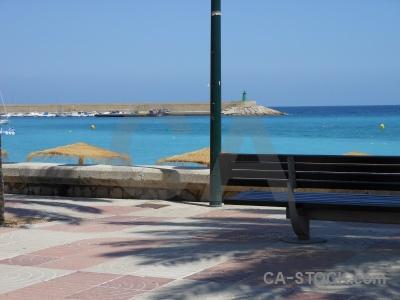 Beach sky sea europe bench.