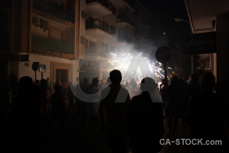Black fiesta spain correfocs firework.