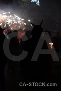 Black javea spain correfocs firework.
