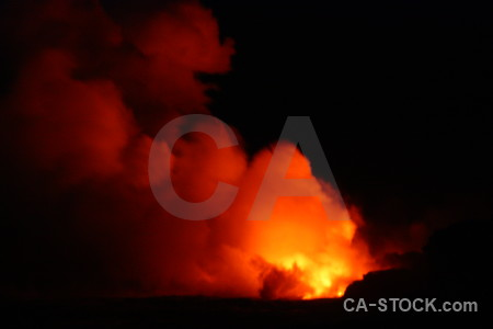 Black smoke red fire lava.