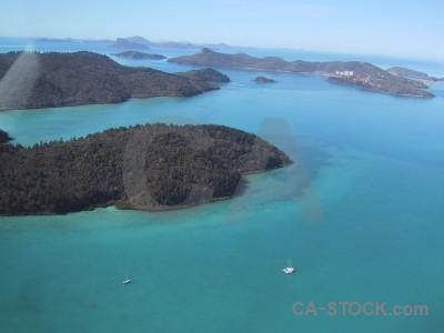 Blue aerial island sea cyan.