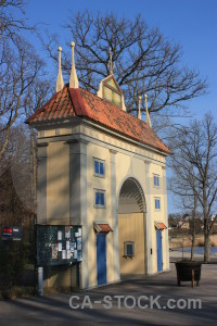 Blue archway building.