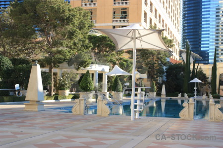 Blue building pool courtyard water.