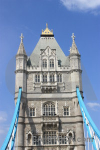 Blue tower bridge building.