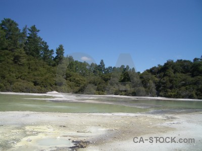 Blue volcanic lake water.