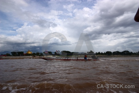 Boat cloud asia laos mekong river.