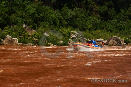 Boat iguacu falls river vehicle unesco.