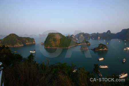 Boat southeast asia sea ha long bay tree.