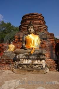 Brick buddhism temple asia phra chedi chaimongkol.