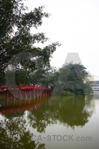 Bridge ngoc son temple reflection lake vietnam.