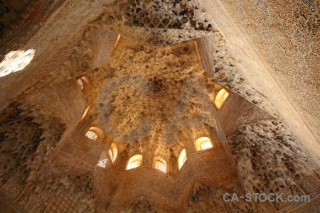 Brown ceiling interior la alhambra de granada fortress.