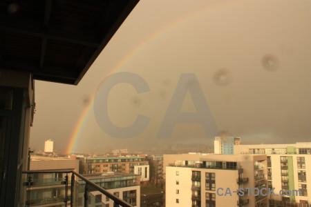 Brown cloud rainbow sky.