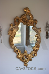 Brown frame mirror.