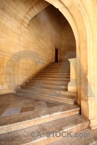 Brown interior stair alhambra fortress.