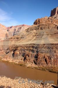 Brown rock landscape blue desert.