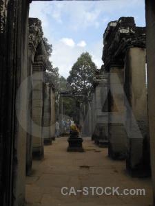 Buddhism prasat bayon southeast asia temple ruin.
