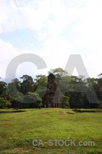 Buddhism stone angkor thom tree lichen.