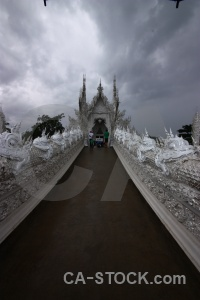 Buddhist ornate thailand asia white temple.