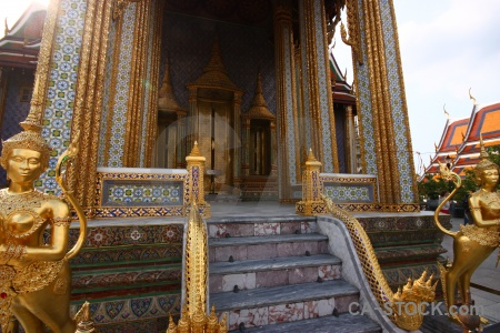Buddhist royal palace grand step column.
