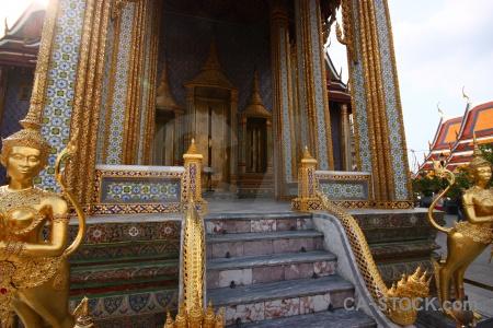 Buddhist royal palace grand step column.