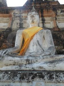 Buddhist temple wat yai chai mongkol thailand brick.