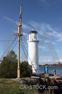 Building blue lighthouse.