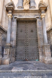 Building door cathedral of murcia entrance.