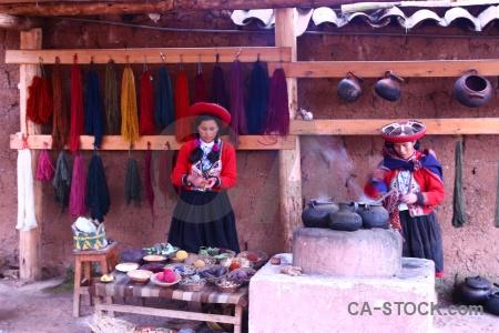 Building peru woman person wool making.