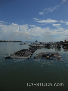 Building phang nga bay village floating stilts.