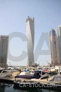 Building skyscraper boat middle east marina.