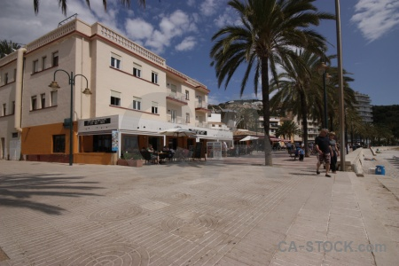 Building spain cloud javea palm tree.