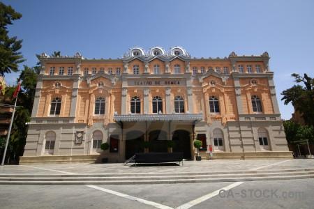 Building teatro romea roman theatre murcia blue.