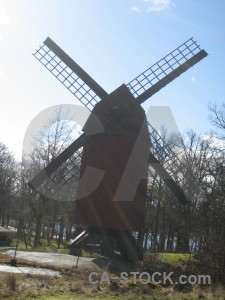 Building white windmill.