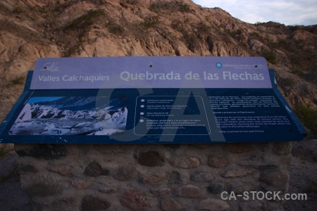 Calchaqui valley quebrada de las flechas mountain sign gorge.