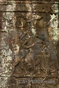Cambodia angkor thom ruin khmer lichen.