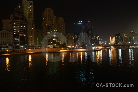 Canal night asia building middle east.