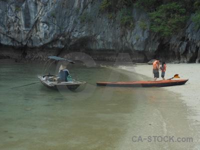 Canoe sea limestone sky asia.