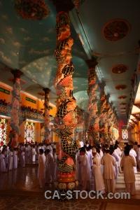 Cao dai pillar toa thanh tay ninh holy see temple.