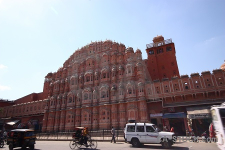 Car road jaipur sky hawa mahal.