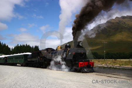 Carriage railway mountain south island smoke.