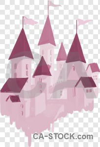 Castle building pink transparent.