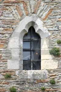 Castle window white building.