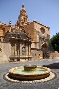 Cathedral europe building murcia fountain.