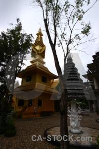 Chiang rai asia ornate gold white temple.